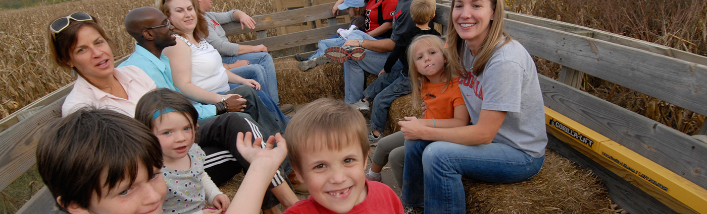 kids on a hayride